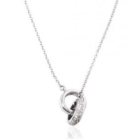 chaine de cou en or 18 carats et pendentif or blanc et diamant 0,15 carat