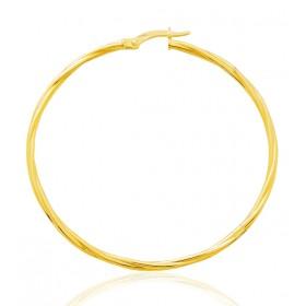 boucles d'oreilles femme or jaune 18 carats créoles torsadées 40 mm