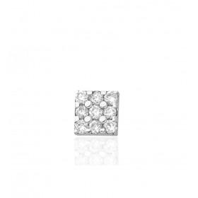 Clou d'oreille homme or blanc et diamant 0,03 carat.