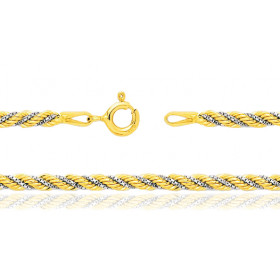 Chaine de cou deux ors 18 carats maille corde vénitienne 3 mm