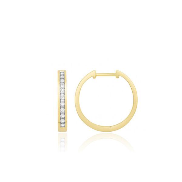 Boucles d'oreilles or jaune 18 carats et diamant 0,25 carat