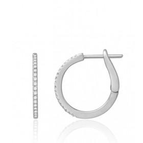 Boucles d'oreilles or blanc 18 carats et diamant 0,15 carat