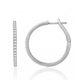 Boucles d'oreilles or blanc 18 carats et diamant 0,45 carat
