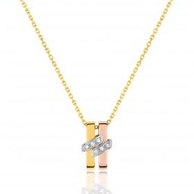 chaine de cou en or 18 carats et pendentif trois ors   et diamant 0,042 carat