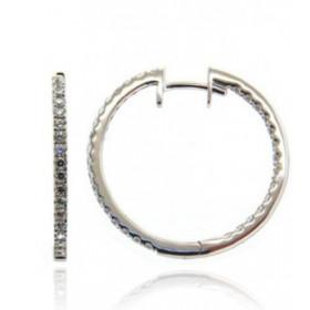 Boucles d'oreilles or blanc 18 carats et diamant 0,51 carat