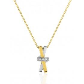 chaine de cou en or 18 carats et pendentif deux ors  et diamant 0,018 carat