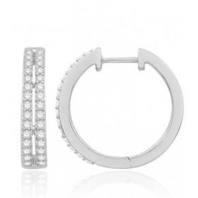 Boucles d'oreilles or blanc 18 carats et diamant 0,50 carat