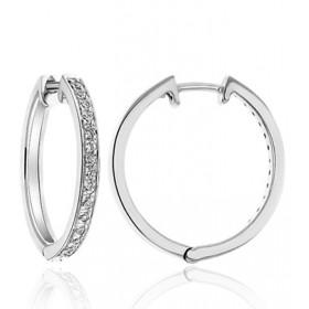 Boucles d'oreilles or blanc 18 carats et diamant 0,30 carat
