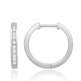 Boucles d'oreilles or blanc 18 carats et diamant 0,20 carat