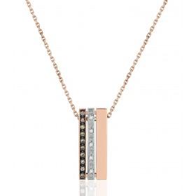 chaine de cou en or 18 carats et pendentif deux ors  et diamant 0,010 carat