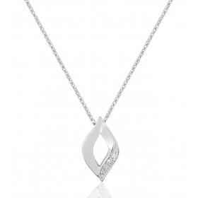 chaine de cou en or 18 carats et pendentif or blanc et diamant 0,01 carat