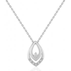 chaine de cou en or 18 carats et pendentif or blanc et diamant 0,065 carat