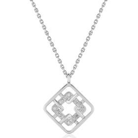 chaine de cou en or 18 carats et pendentif or blanc et diamant 0,02 carat