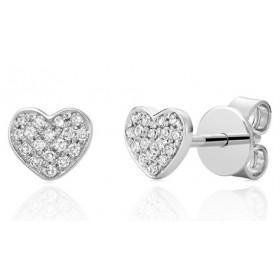 Puces d'oreilles or 18 carats cœur et diamant 0,15 carat
