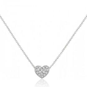 Chaine or blanc 18 carats et diamants 0,10 carat cœur