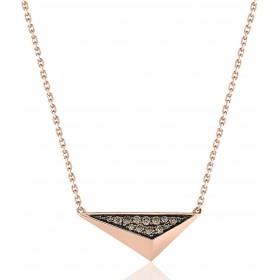 chaine de cou en or 18 carats et pendentif or rose et diamant 0,13 carat