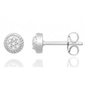 Puces d'oreilles or 18 carats cœur et diamant 0,07 carat
