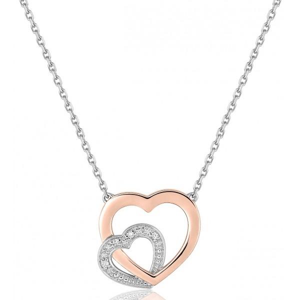 chaine de cou en or 18 carats et pendentif deux ors  et diamant 0,016 carat