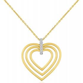 chaine de cou en or 18 carats et pendentif or jaune et diamant 0,018 carat