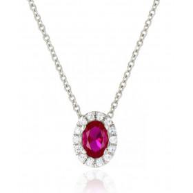 Chaine or blanc 18 carats et diamants 0,13 carat et rubis 0,65 carat