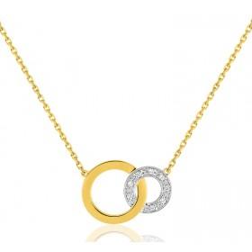 chaine de cou en or 18 carats et pendentif deux ors  et diamant 0,032 carat