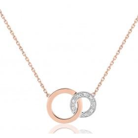 chaine de cou en or rose 18 carats et pendentif deux ors  et diamant 0,032 carat