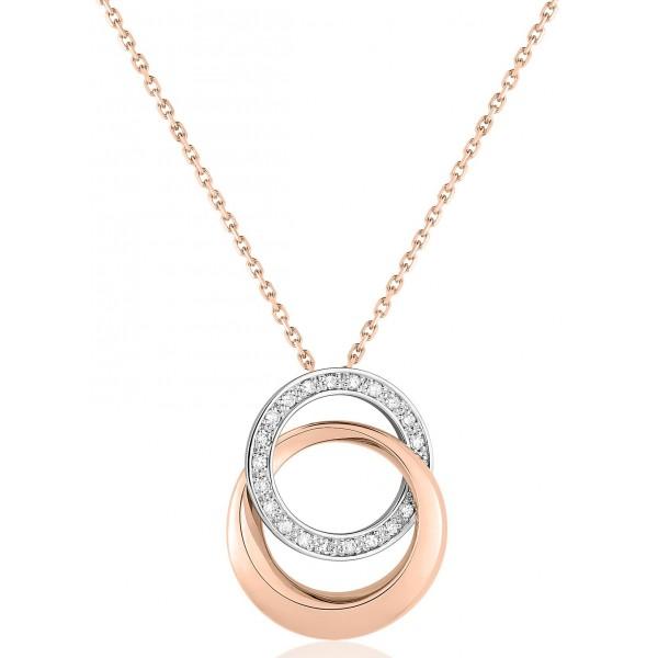 chaine de cou en or rose 18 carats et pendentif deux ors  et diamant 0,10 carat