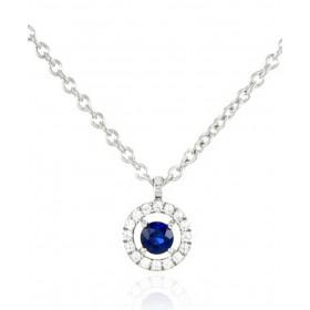 Chaine or blanc 18 carats et diamants 0,06 carat et saphir de Ceylan 0,14 carat