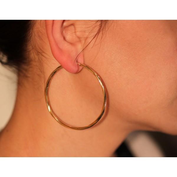 boucles d'oreilles femme or jaune 18 carats créoles torsadées 50 mm