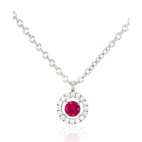 Chaine or blanc 18 carats et diamants 0,06 carat et rubis 0,18 carat