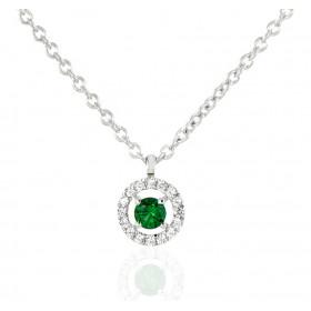 Chaine or blanc 18 carats et diamants 0,06 carat et émeraude 0,14 carat