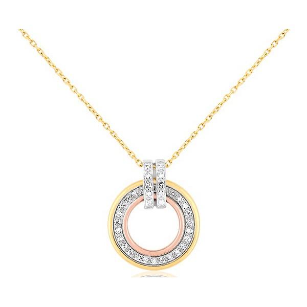 chaine de cou en or jaune 18 carats et pendentif trois ors et diamant blanc 0,13 carat