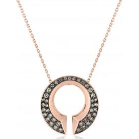 Collier et pendentif or rose 18 carats et diamants bruns 0,43 carat