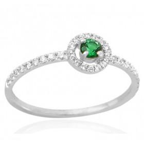 Bague en or 18 carats, diamants 0,17 carat et emeraude 0,12 carat