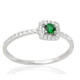 Bague en or 18 carats, diamants 0,18 carat et emeraude 0,12 carat