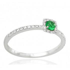 Bague en or 18 carats, diamants 0,17 carat et emeraude 0,15 carat