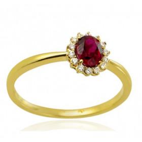 Bague or blanc 18 carats, rubis ovale et diamant 0,08 carat