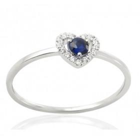 Bague or blanc 18 carats, saphir et diamant 0,06 carat
