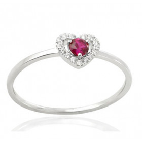 Bague or blanc 18 carats, rubis et diamant 0,06 carat