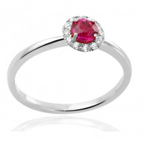 Bague or blanc 18 carats, rubis et diamant 0,10 carat