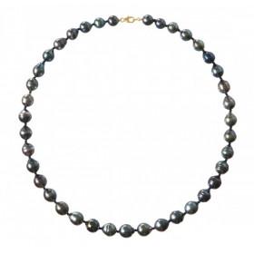 Collier perles de Tahiti 8/10 mm cerclées et or 18 carats