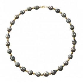 Collier perles de Tahiti 8/10 mm cerclées et boules or 18 carats