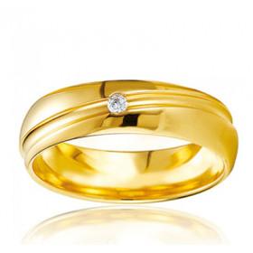Bague alliance Breuning en or jaune 18 carats et diamant 0,030 carat