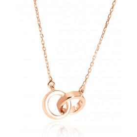 Chaine or rose 18 carats et pendentif double cercles
