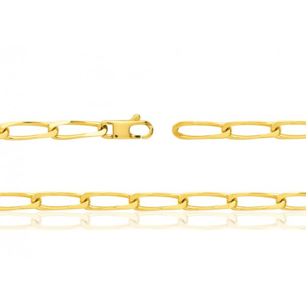 chaine or jaune 18 carats maille cheval pour femmes