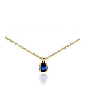 Chaine or jaune 18 carats et pendentif saphir