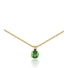 Chaine or jaune 18 carats et pendentif emeraude 4 mm