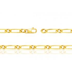 chaine or jaune 18 carats maille cheval alternée pour femmes