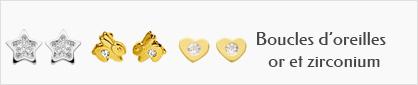 collection de boucles d'oreilles en or et zirconium pour enfants.
