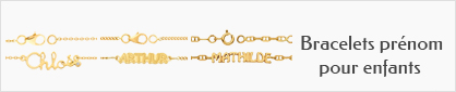 collection de bracelets prénom personnalisables en or pour enfants.
